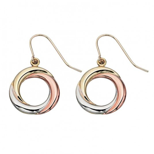 9ct Yellow, White And Rose Gold Plain Circular Earrings.
