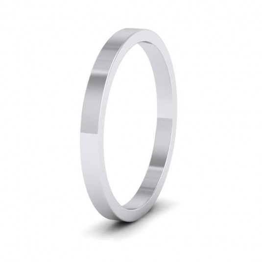 925 Sterling Silver 2mm Flat Shape Extra Heavy Weight Wedding Ring