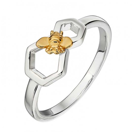 Sterling silver honeycomb and bee ring with gold plated accents.