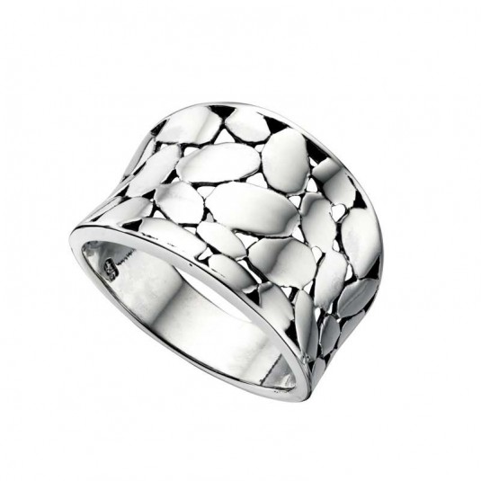 Sterling silver, wide, open patterned ring.