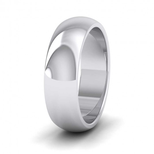 950 Platinum 6mm 'D' Shape Super Heavy Weight Wedding Ring