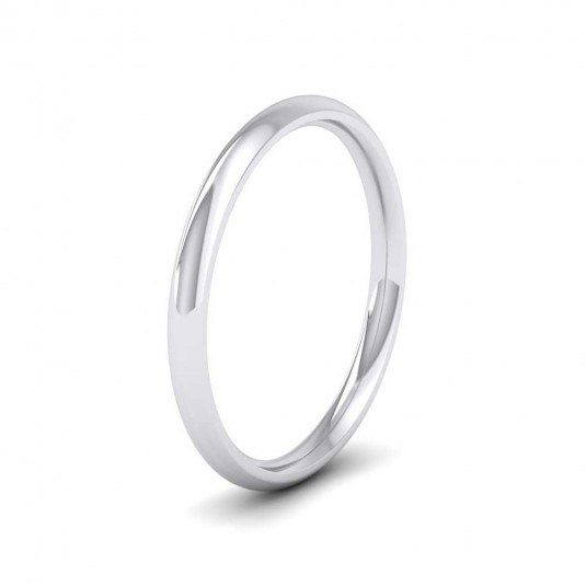 950 Platinum 2mm Court Shape (Comfort Fit) Extra Heavy Weight Wedding Ring