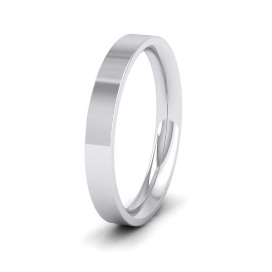 950 Platinum 3mm Flat Shape (Comfort Fit) Extra Heavy Weight Wedding Ring