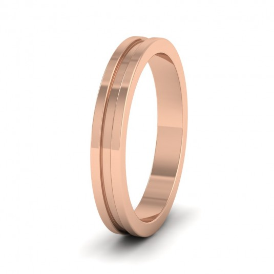 Flat Grooved 9ct Rose Gold 3mm Flat Wedding Ring