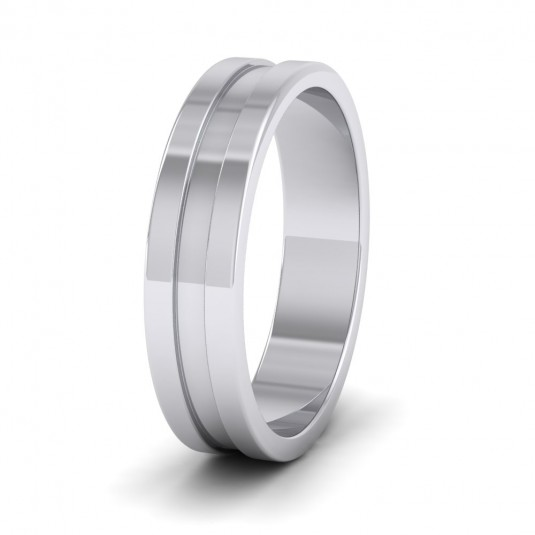 Flat Grooved 18ct White Gold 5mm Flat Wedding Ring