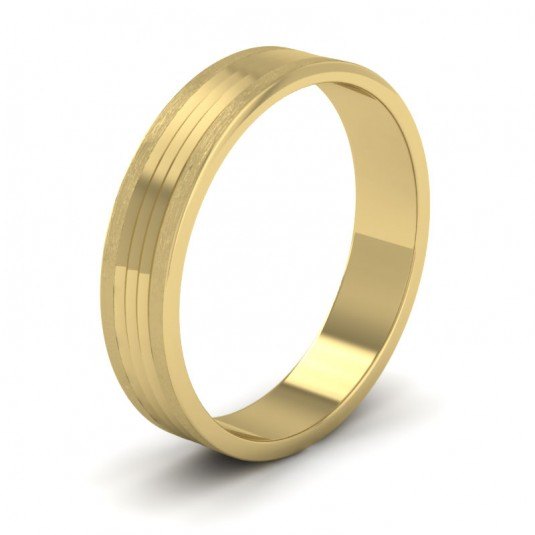 Grooved Pattern 9ct Yellow Gold 4mm Flat Wedding Ring