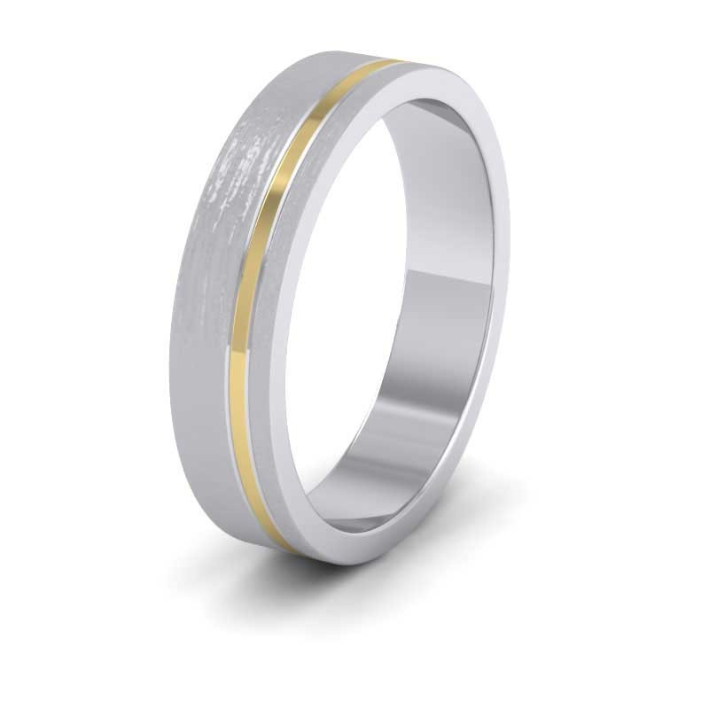 Asymmetric Two Colour 18ct White And Yellow Gold 5mm Wedding Ring