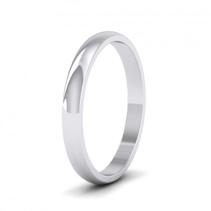 14ct White Gold 2.5mm 'D' Shape Classic Weight Wedding Ring