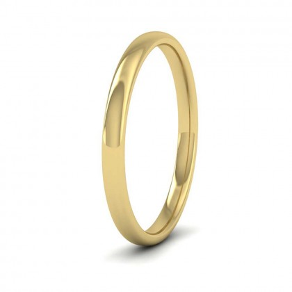 14ct Yellow Gold 2mm Cushion Court Shape (Comfort Fit) Classic Weight Wedding Ring