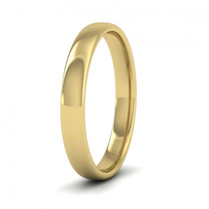 14ct Yellow Gold 3mm Cushion Court Shape (Comfort Fit) Classic Weight Wedding Ring
