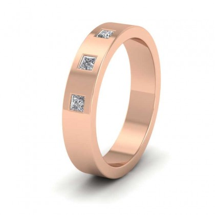 18ct Rose Gold 4mm Flat Shape Three Stone Diamond Wedding Ring