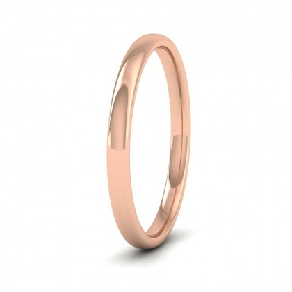 18ct Rose Gold 2mm Cushion Court Shape (Comfort Fit) Classic Weight Wedding Ring