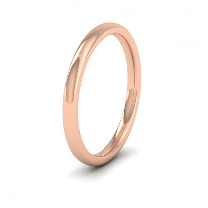 18ct Rose Gold 2mm Cushion Court Shape (Comfort Fit) Extra Heavy Weight Wedding Ring
