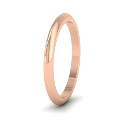 18ct Rose Gold 2mm 'D' Shape Super Heavy Weight Wedding Ring