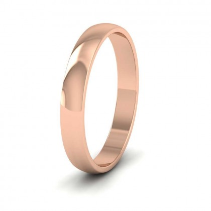 18ct Rose Gold 3mm 'D' Shape Classic Weight Wedding Ring
