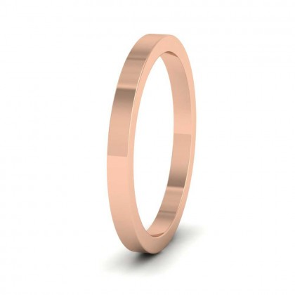 18ct Rose Gold 2mm Flat Shape Super Heavy Weight Wedding Ring