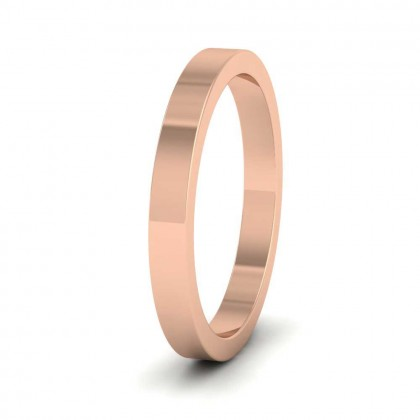 18ct Rose Gold 2.5mm Flat Shape Super Heavy Weight Wedding Ring