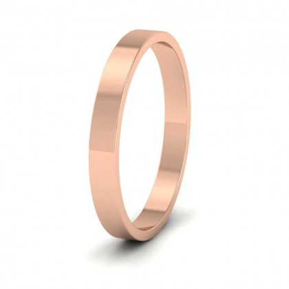 18ct Rose Gold 2.5mm Flat Shape Classic Weight Wedding Ring
