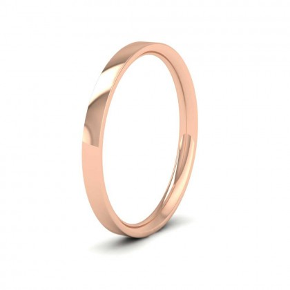 18ct Rose Gold 2mm Flat Shape (Comfort Fit) Classic Weight Wedding Ring