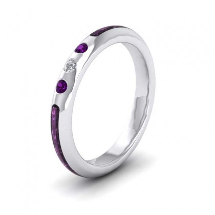 Amethyst And Diamond Set Enamelled 18ct White Gold 3mm Wedding Ring