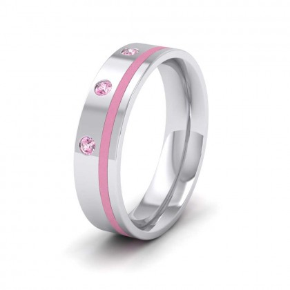 18ct White Gold 5mm Flat Court Shape Enamel and Three Stone Pink Sapphire Wedding Ring