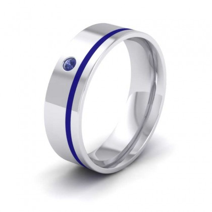 18ct White Gold 7mm Flat Court Shape Enamel and Single Stone Blue Sapphire Wedding Ring