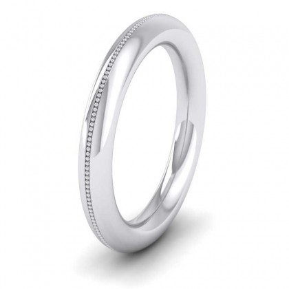18ct White Gold 3mm Halo Millgrained Wedding Ring
