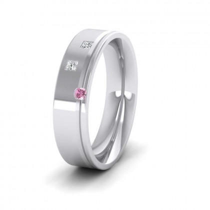 18ct White Gold 5mm Flat Court Shape Three Stone Diamond and Pink Sapphire Wedding Ring