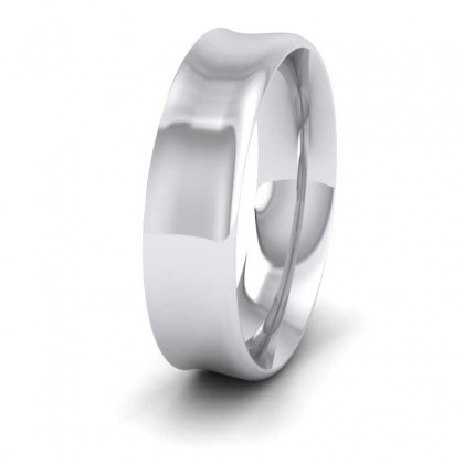 18ct White Gold 6mm Flat Court Shape Patterned Wedding Ring