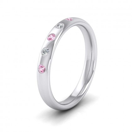 18ct White Gold 3mm Court Shape Five Stone Pink Sapphire Diamond Wedding Ring