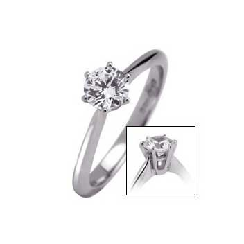 18ct White Gold 0.35ct Brilliant Cut Six Claw Diamond Solitaire Ring