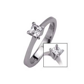 18ct White Gold 0.3ct Princess Cut Diamond Solitaire Ring