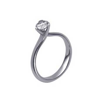 18ct White Gold Three Claw 0.35ct Brilliant Cut Diamond Solitaire Ring