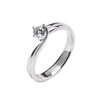 18ct White Gold Four Claw Twist 0.35ct Brilliant Cut Diamond Solitaire Ring