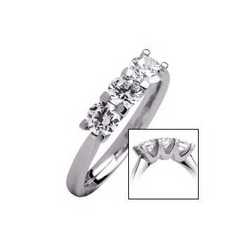 18ct White Gold 0.75ct Brilliant Cut Diamond Trilogy Ring