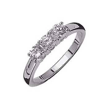 18ct White Gold 0.45ctBrilliant Cut Diamond Trilogy Ring