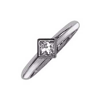 18ct White Gold 0.4ct Princess Cut Single Stone Diamond Ring