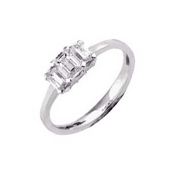 18ct White Gold Emerald and Baguette Cut 0.8ct Three Stone Diamond Ring