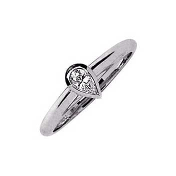 18ct White Gold 0.3ct Pear Shaped Cut Single Stone Diamond Ring