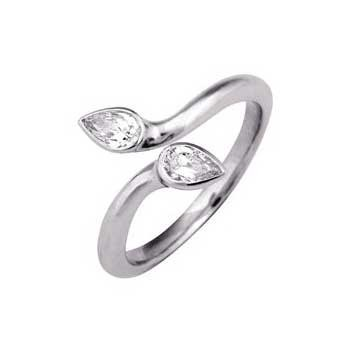 18ct White Gold 0.3ct Diamond Ring With Two Pear Cut Diamonds