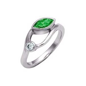 18ct White Gold Fancy Diamond Ring With One 0.6ct Marquise Cut Green Emerald And One 0.1ct Brilliant Cut Diamond
