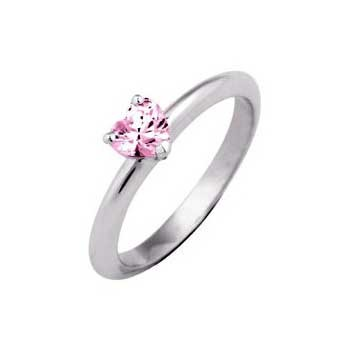 18ct White Gold Single Stone Pink Heart Shape Sapphire Ring