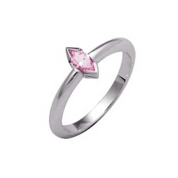 18ct White Gold Single Stone Pink Sapphire Ring
