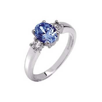 18ct White Gold Large Oval Blue Sapphire and Diamond Three Stone Ring