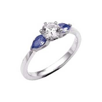 18ct White Gold Three Stone Diamond and Pear Shaped Blue Sapphire Ring