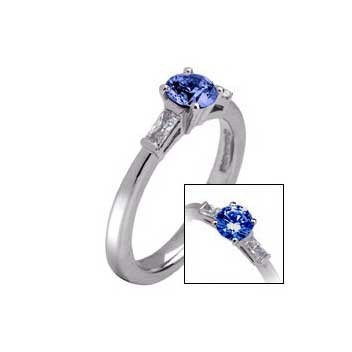 18ct White Gold Round Sapphire and Baguette Diamond Three Stone Ring