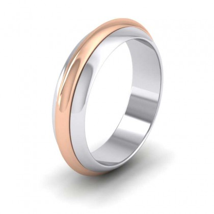 18ct White and Rose Gold 6mm 'D' Shape Two Colour Wedding Ring