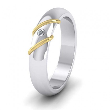 18ct White and Yellow Gold 4mm 'D' Shape Single Stone Two Colour Diamond Wedding Ring