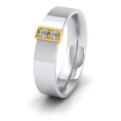 18ct White and Yellow Gold 5mm Flat Court Shape Two Colour Two Stone Diamond Wedding Ring