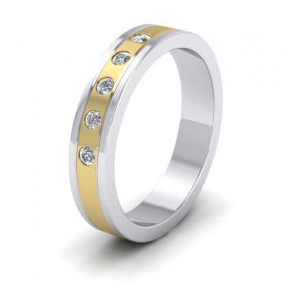 18ct White and Yellow Gold 4mm Flat Shape Two Colour Five Stone Wedding Ring